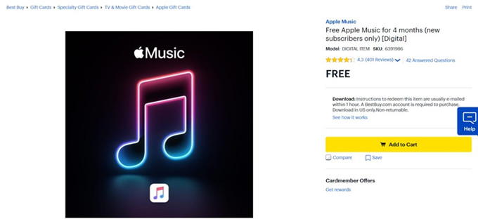 bestbuy free apple music