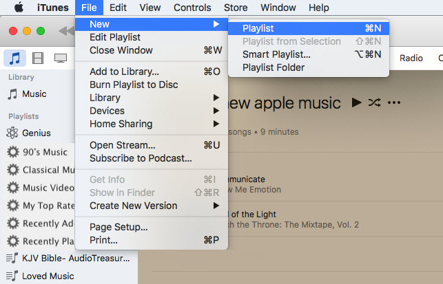 create a new playlist on itunes