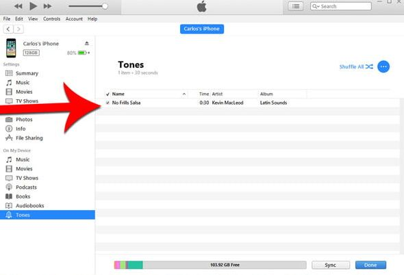 sync tones to iphone on itunes