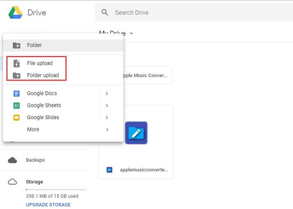 upload apple music songs to google drive