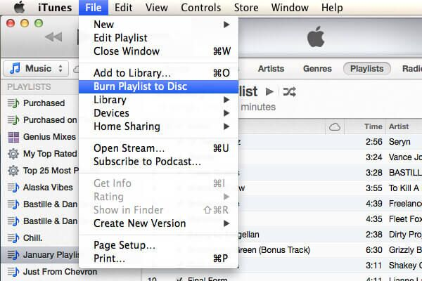 burn songs to cd with itunes