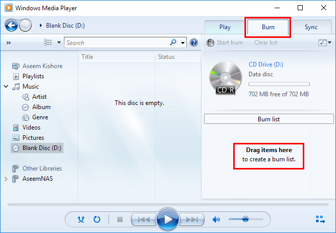 burn songs to cd on windows media player
