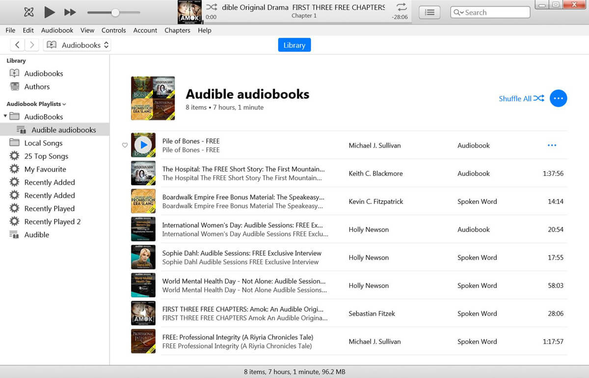Play Audible audiobooks with iTunes
