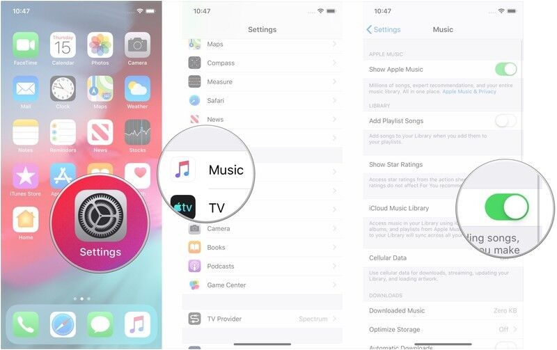 enable iCloud music library on iphone