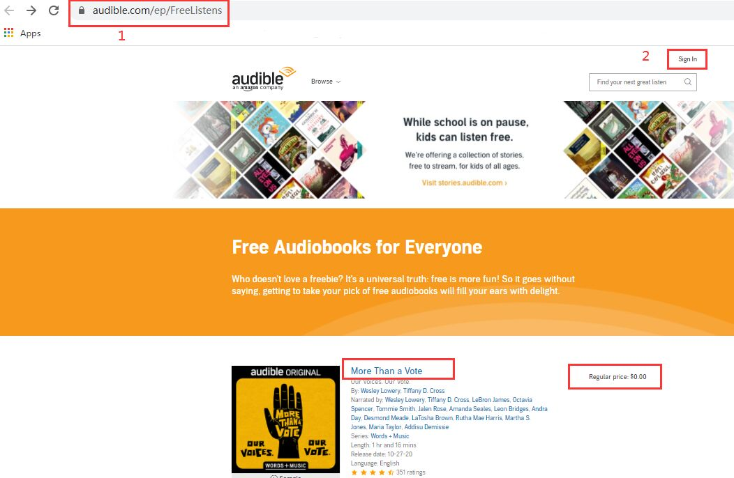 go to audible free website