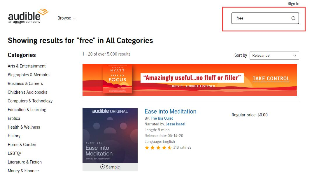 search free books on audible
