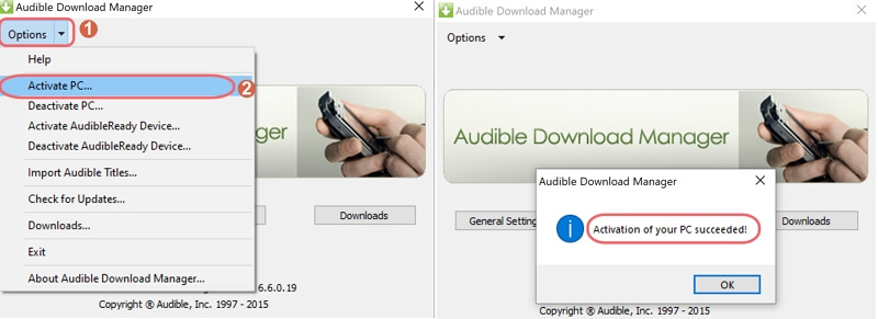 activate audible on pc