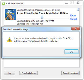 audible authorize on pc