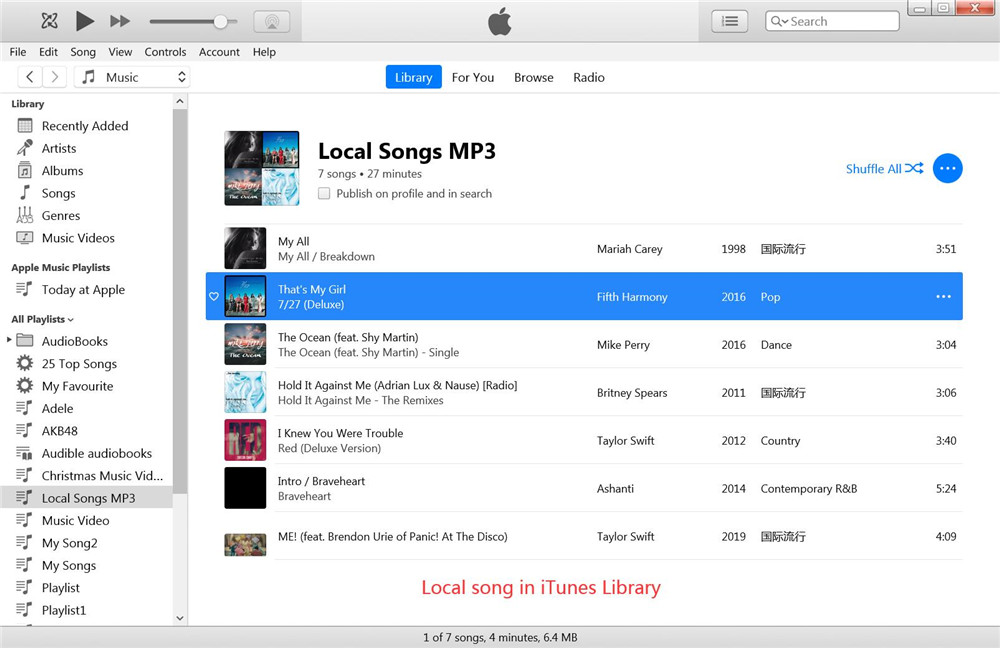local songs itunes library