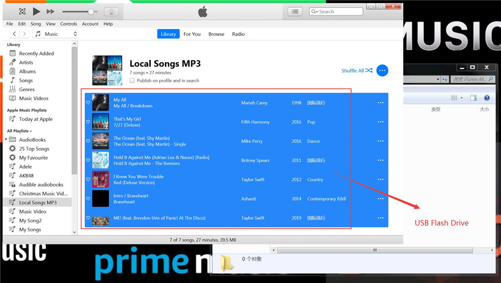 transfer itunes music to usb drive