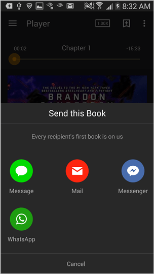 audible for android player screen send this book